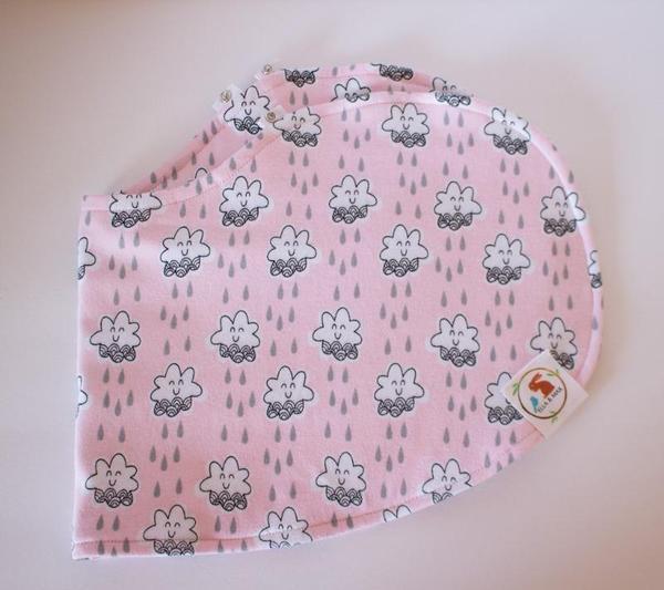 Bib and Burp Cloth - Pink Clouds