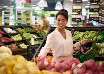 person grocery shopping for healthy food
