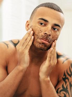 person exfoliating skin