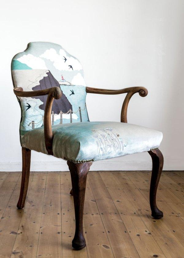 Armchair with summer coastal path design