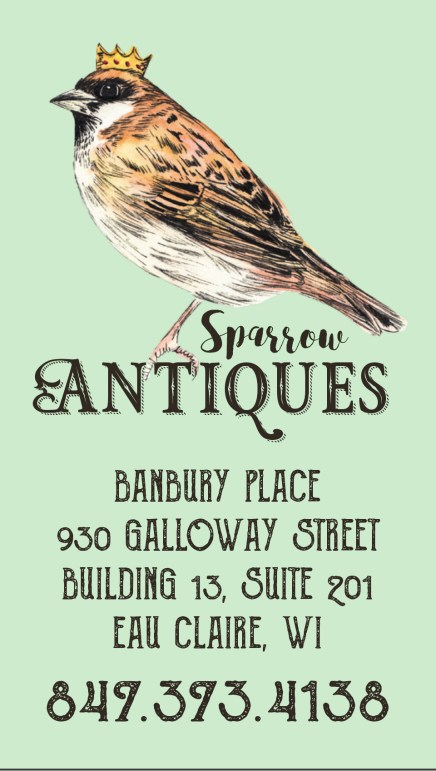 Sparrow Antiques, Sparrow illustration by Ella Johnston