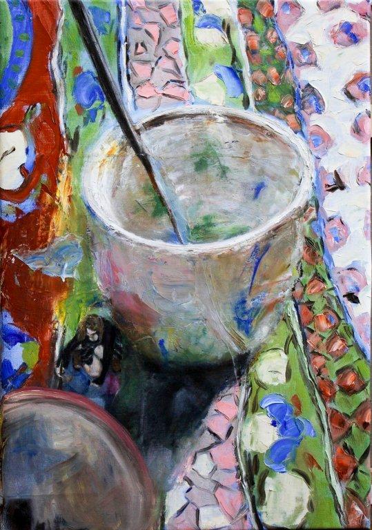 Kopje koffie op Perzisch tapijtje
