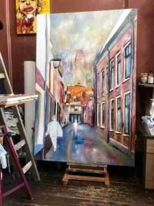 De Korte Begijnestraat in Haarlem groot opgezet