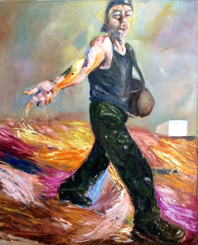 Schilderij De Zaaier (naar Van Gogh) geschilderd, landschappen.