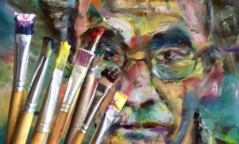 Gratis schilderen. Olieverf schilderen voor beginners en gevorderden. Portret van Han Prins, laag over laag geschilderd.