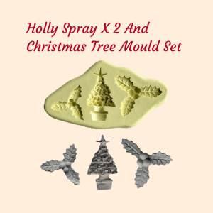 Holly Spray x 2 and Christmas Tree Mould Set