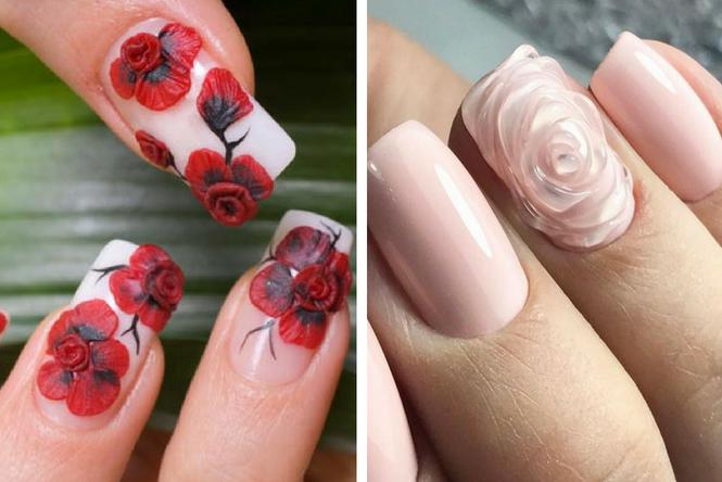 uñas decoradas con flores con relieve