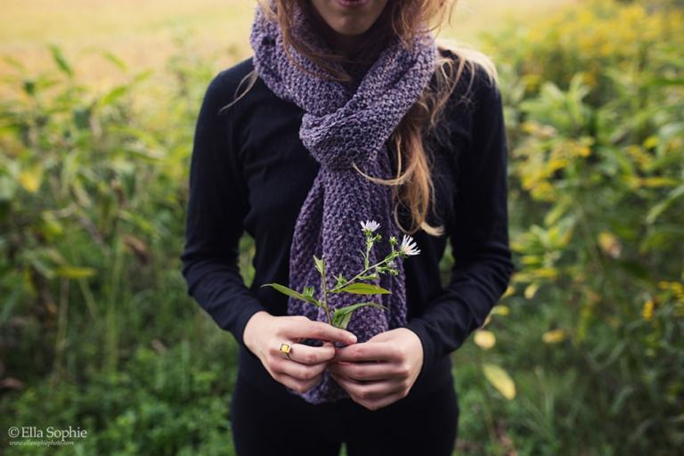 handmade purple scarf, sustainable fashion design photography by Ella Sophie Oakland CA
