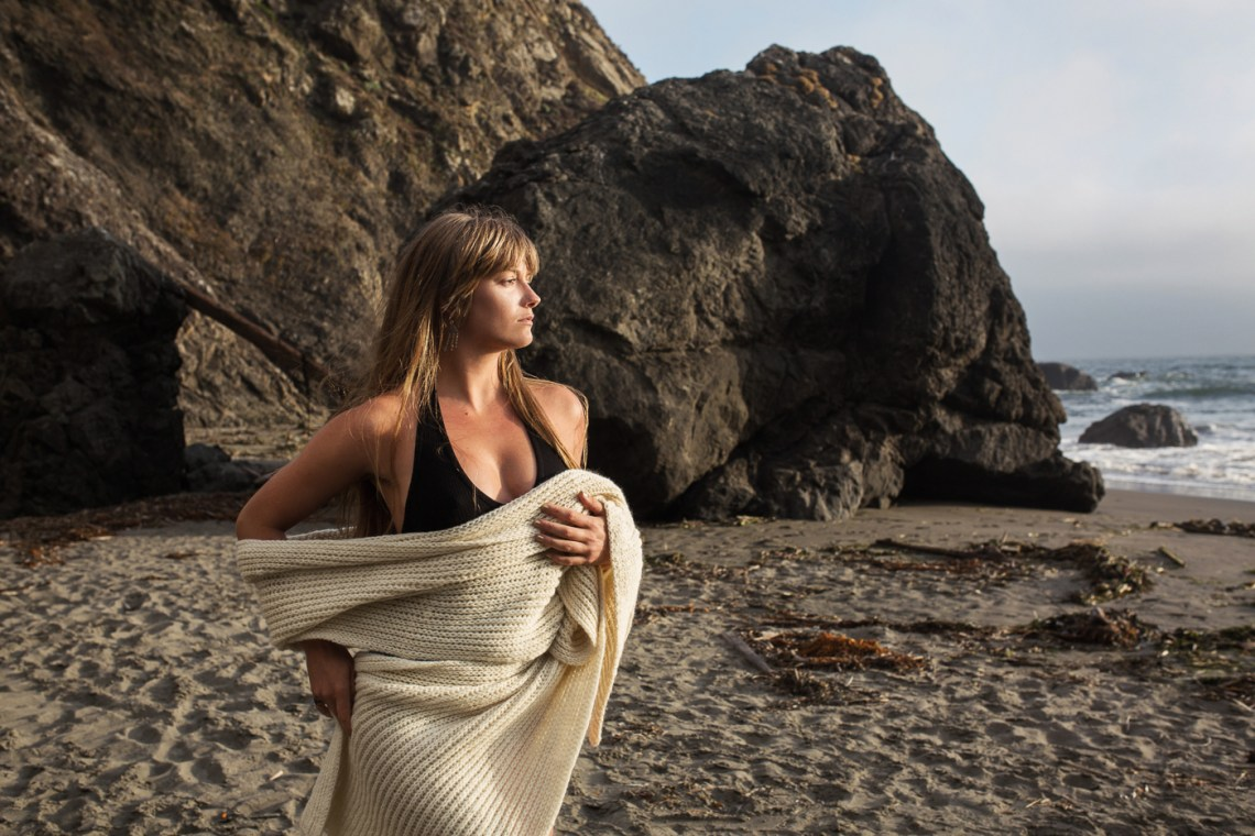 Model Vera Vinot at Muir Beach in a fall/winter ad campaign for sustainable fashion designer WKT.