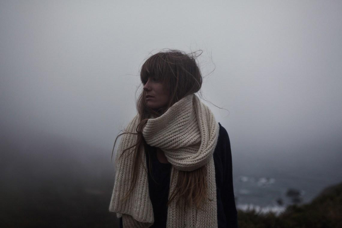 Foggy lifestyle portrait for ethical fashion design. By San Francisco Bay Area Photographer Ella Sophie