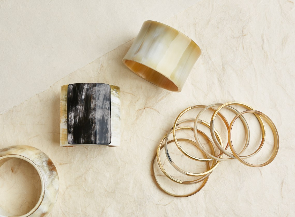 Jewelry product photography, styled product photo of horn bracelets