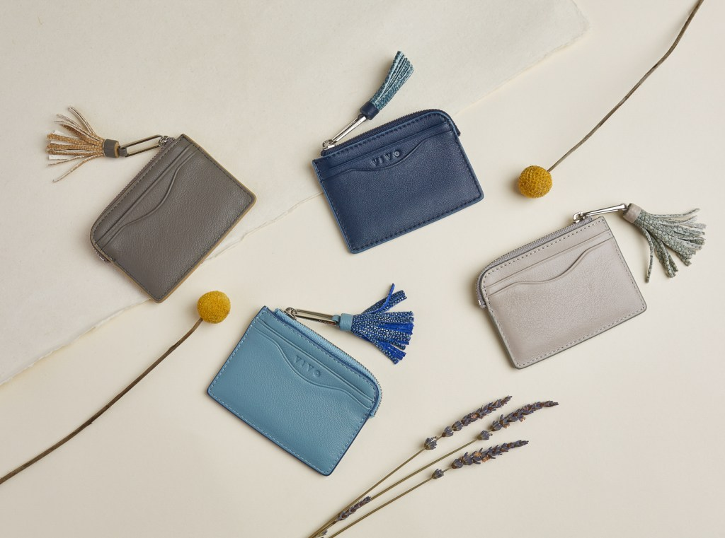 San Francisco product photographer Ella Sophie, leather wallets with lavender & billy balls.