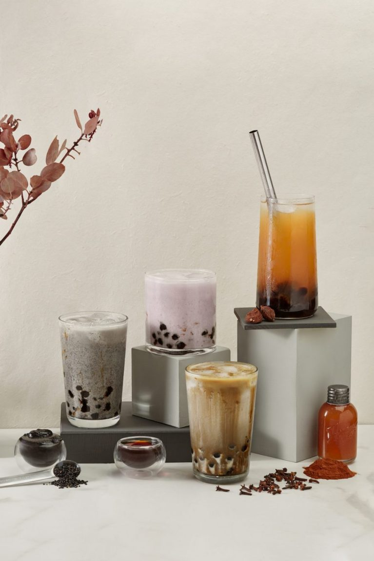 San Francisco bay area still life and product photography by Ella Sophie, Boba tea group shot with fall flavors