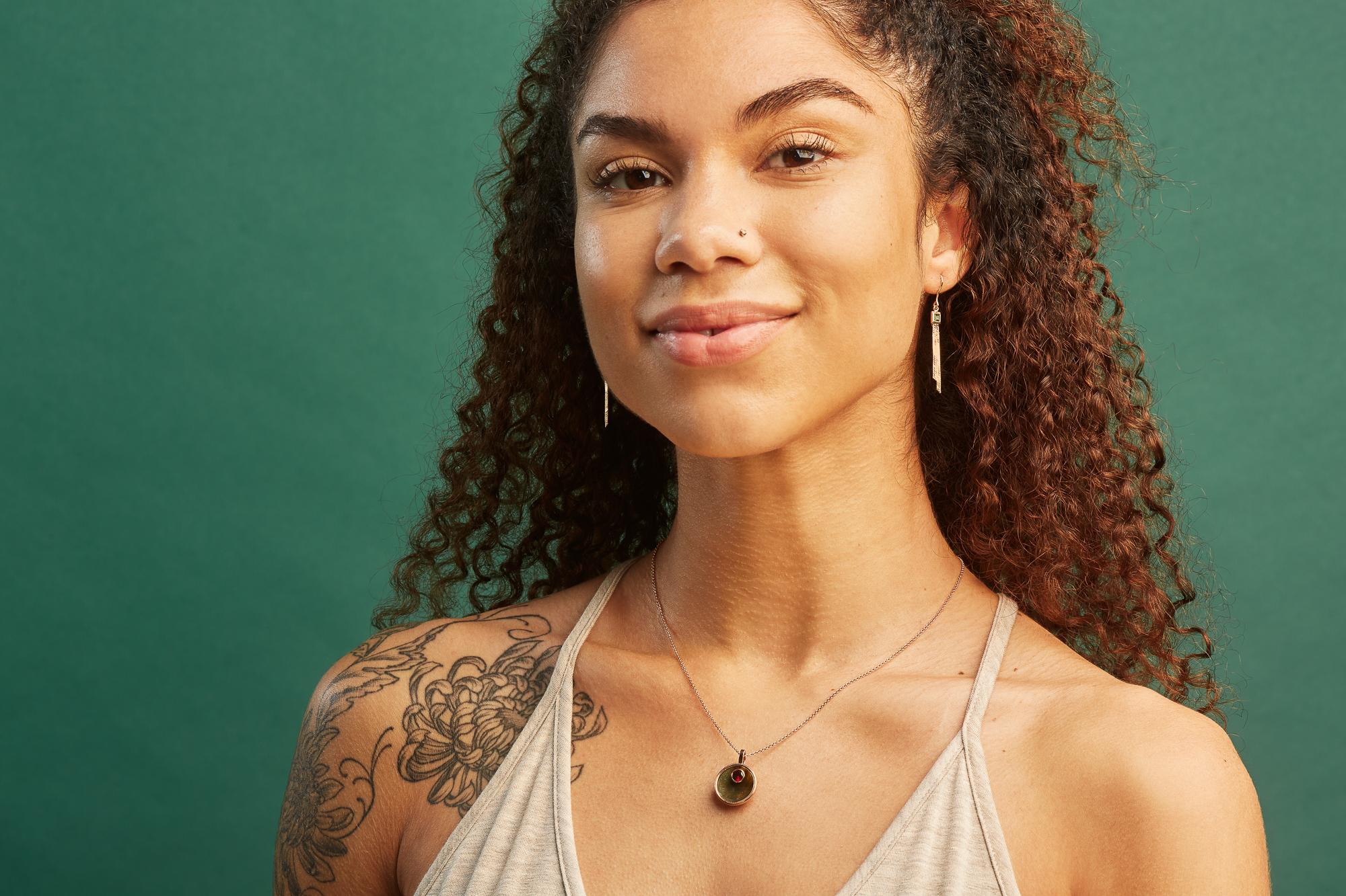 Alyssa Jade modeling Mercurius jewelry in Ella Sophie's Oakland photo studio