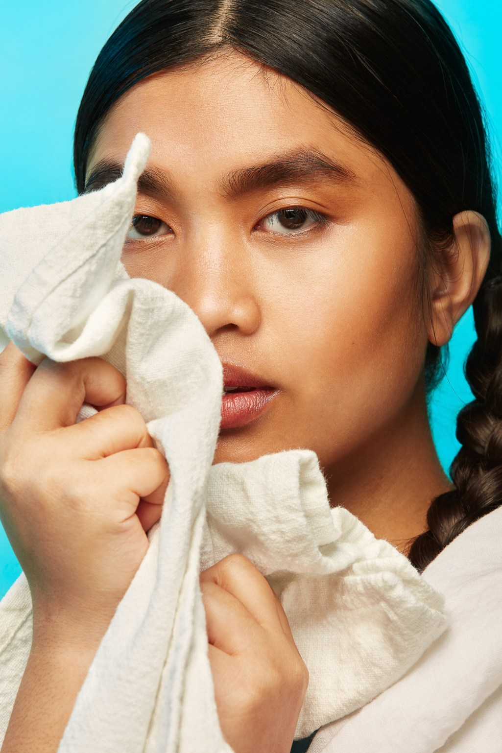 Beauty Portrait of AAPI model showing clean skin by San Francisco bay area photographer Ella Sophie