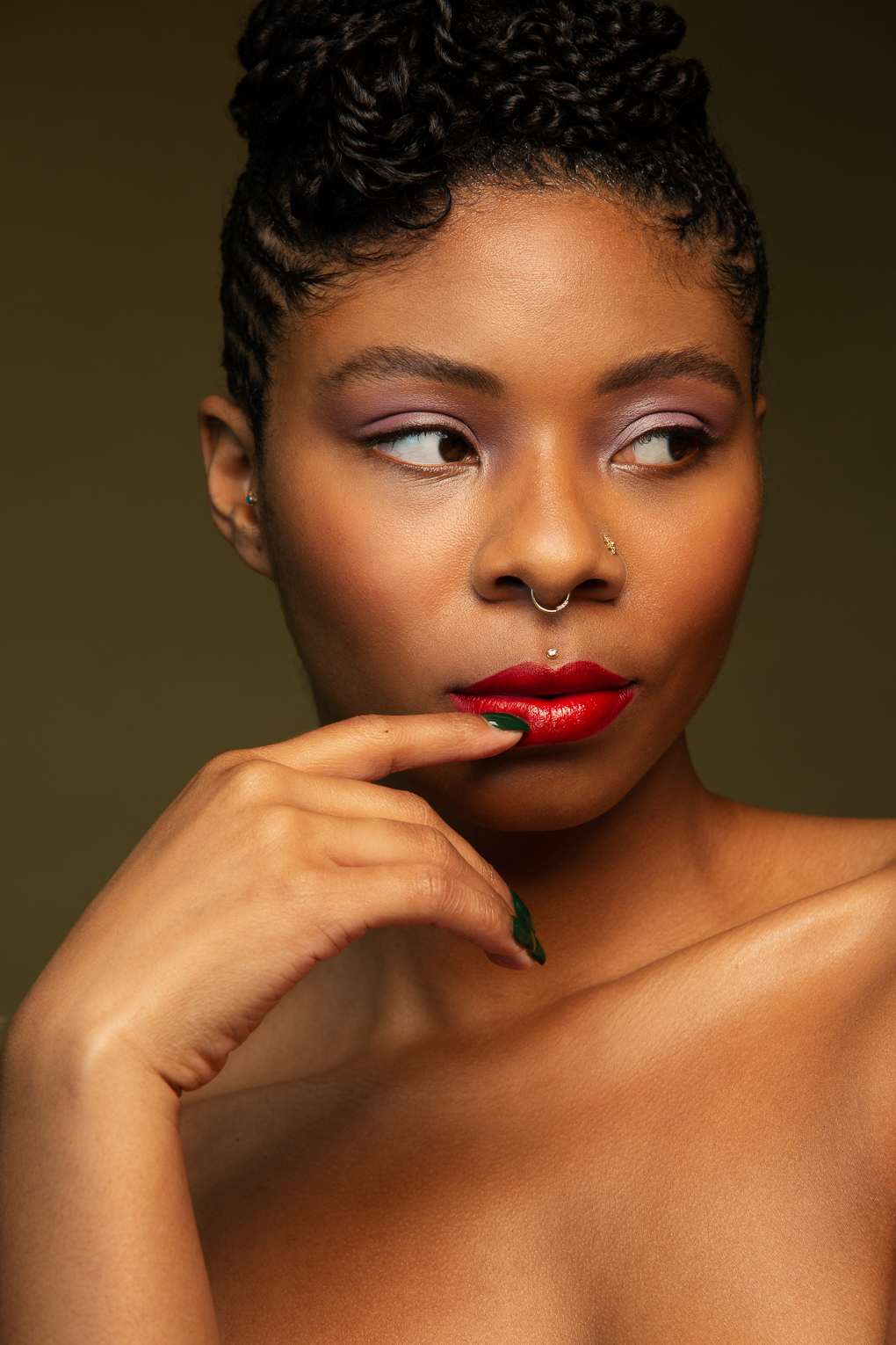 Confident portrait of black woman with red lips by San Francisco Bay Area Photographer Ella Sophie