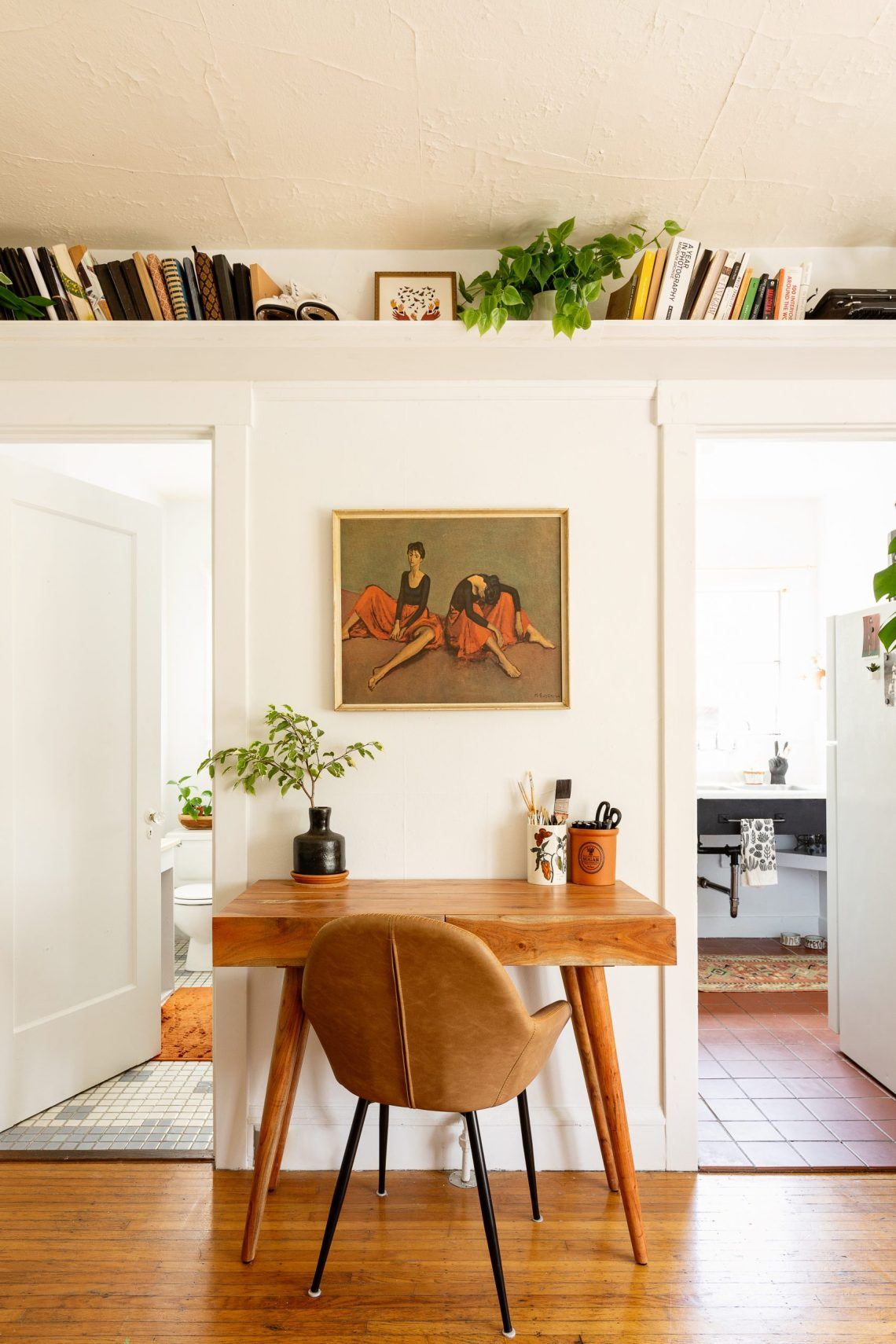 Home office workspace for small apartment, designed by Carrie Burch