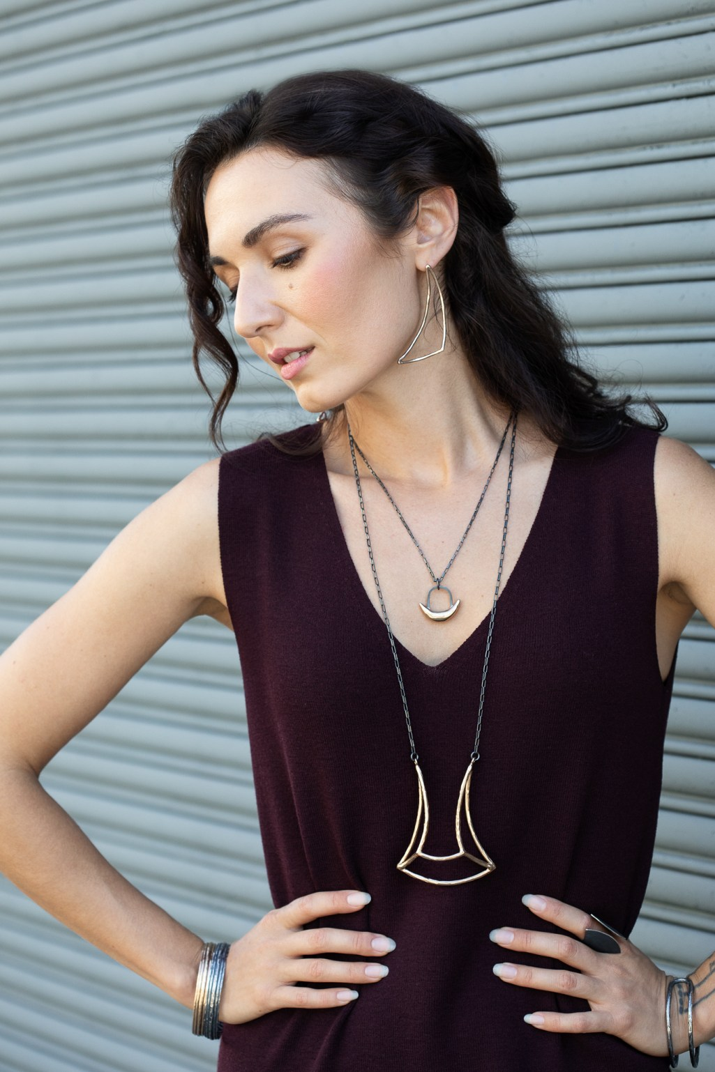Model Zoe West with makeup by Kalyn Slaughter for Jewelry advertising photographer Ella Sophie