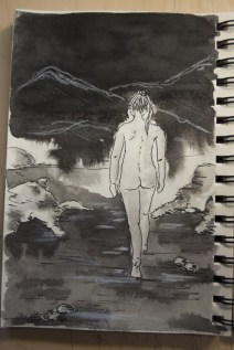 First experiment with ink and white chalk