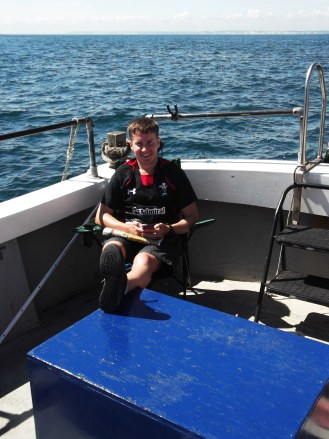 Llyr chilling on the boat