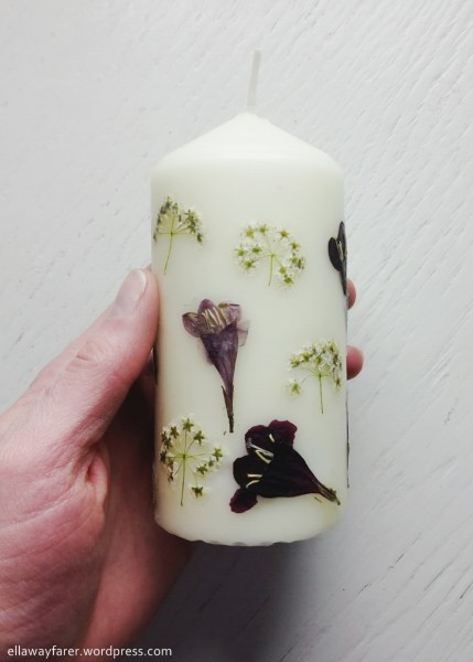 DIY Flower Candle |https://ellawayfarer.wordpress.com/