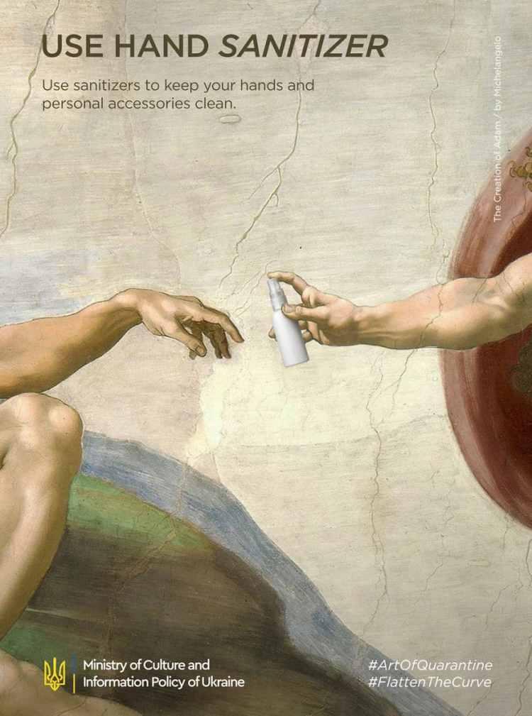 Michelangelo, La creación de Adam coronavirus