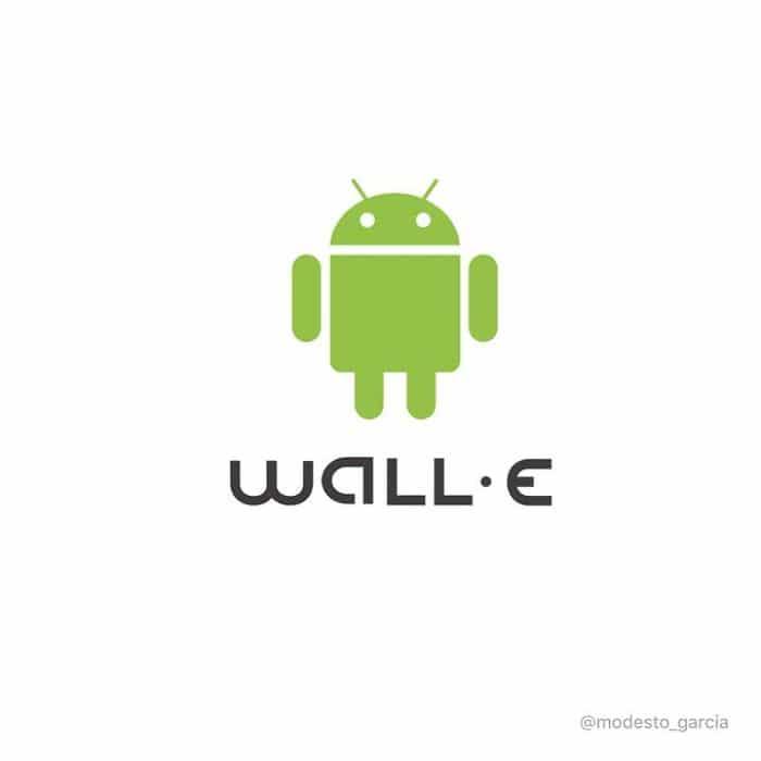 logo de wall e representado por logo de android