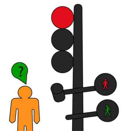 Pegman Google con signo interrogativo al lado de un semáforo