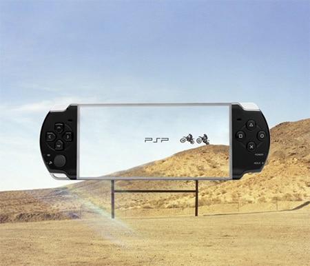 valla publicitaria en un desierto con anuncio de psp