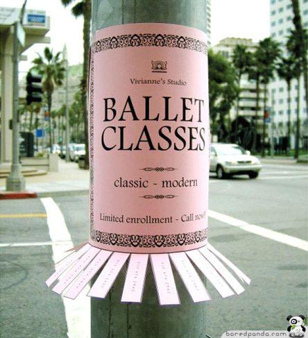 anuncio de clases de ballet con números de teléfono