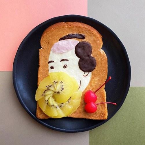 tostada con arte japonés y kiwi