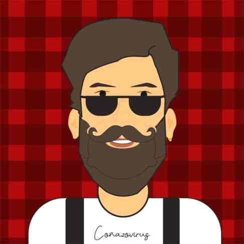 hombre con mascarilla para hipster con fondo de cuadros rojos
