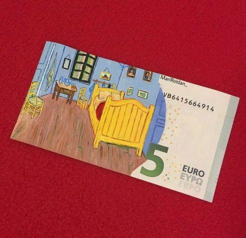 Billete de 5 euros pintado con obra de Van Gogh