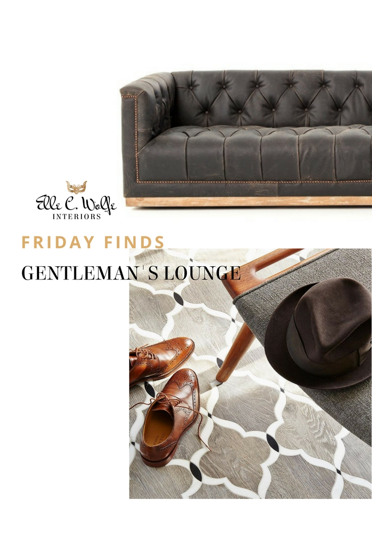 friday find man cave gentleman's lounge photo with walker zanger tile and chesterfield leather sofa