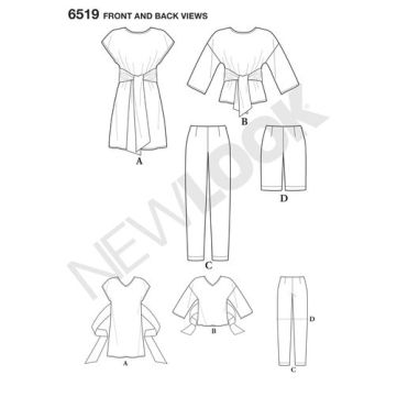 newlook-tie-top-separates-pattern-6519-front-back-view