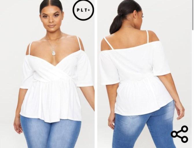 Plus, White Cold shoulder Frill Hem Top. Sizes UK 16 - 26. £18.00. https://www.prettylittlething.com/plus-white-cold-shoulder-frill-hem-top.html