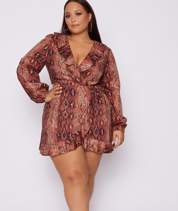 Dani Dyer, Curve Rust Snake Skin Frill Wrap Dress. Sizes UK 6 - 28. £26.99. https://www.inthestyle.com/curve-dani-dyer-rust-snake-print-wrap-front-mini-dress