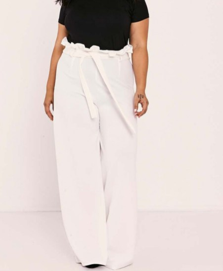 Sarah Ashcroft, Curve White Flared High Wasted Paperbag Trousers. Sizes UK 16 - 28. £14.99. https://www.inthestyle.com/curve-sarah-ashcroft-white-flared-high-waisted-paperbag-trousers
