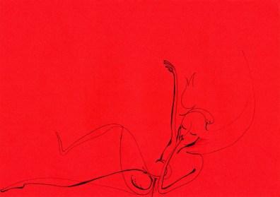 rêve rouge stylo sur pochette carton