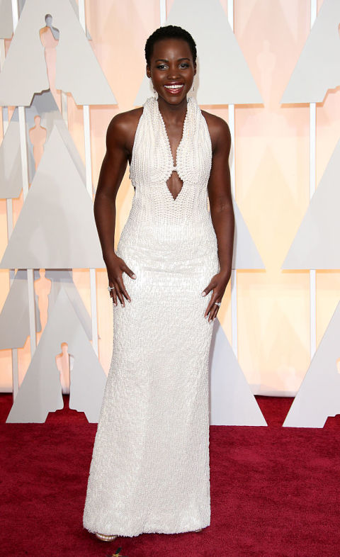 In 2015, Nyong'o looked like a dream in a long, white Calvin Klein gown that featured roughly 6,000 pearls. The showstopper was estimated to cost $150,000. Shop a similar look: White cutout gown, $378, saksfifthavenue.com