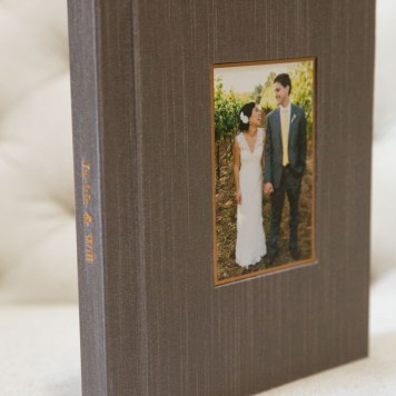 8x10 album with taupe Japanese Silk cover and copper details.