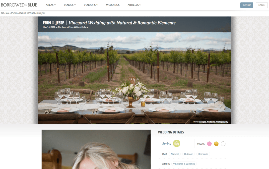 Yay!  E&J's Wedding Feature on Borrowed and Blue