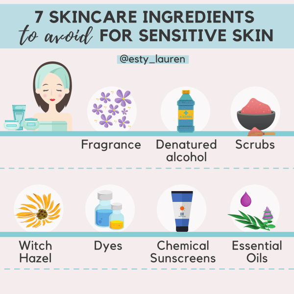 7 skincare ingredients to avoid for sensitive skin infographic