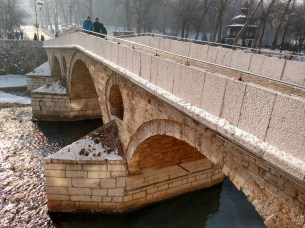 Latin Bridge, where on June 28, 1914, Gavrilo Princip assassinated Archduke Franz Ferdinand and his wife, Sofie, on this bridge, setting into motion events that one month later would lead to the start of WWI.