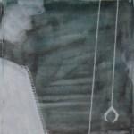 """Refugee, 2007, 34"""" x 12"""", ink on paper"""