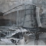 """Water's Edge, 2008, 7.5' x 40"""", ink on paper"""