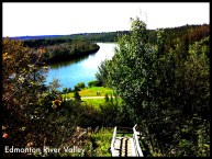 The long Edmonton River Valley is a great place for walking, biking, having a picnic, or taking photographs