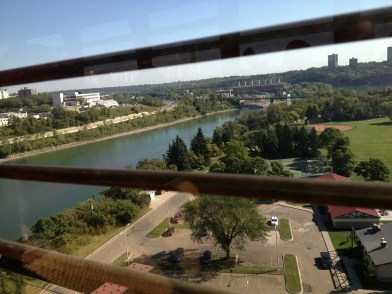 View from the Edmonton Streetcar, on the High Level Bridge