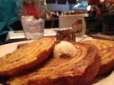 Cinnamon roll French toast at Ruby's Diner, Houston Airport
