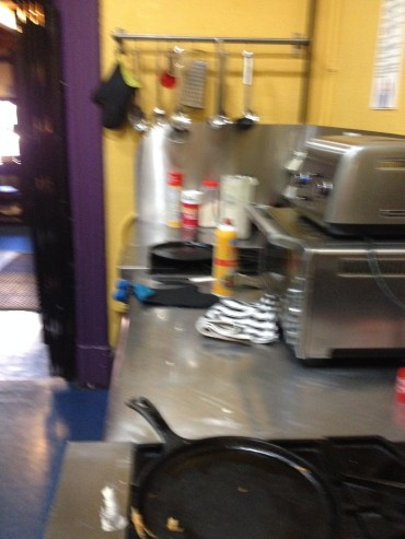 The hostel kitchen, where you can make fresh pancakes or porridge every morning